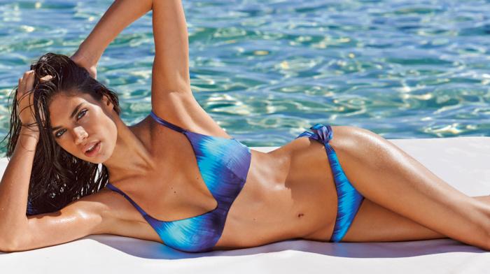 swimwear, girl outdoors, wet body, Sara Sampaio, armpits, girl, bikini, hands on head, looking at viewer, brunette, model, lying on side