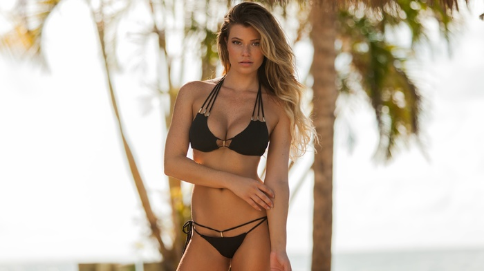 swimwear, bikini, Samantha Hoopes, girl, blonde, looking at viewer, cleavage, girl outdoors, model