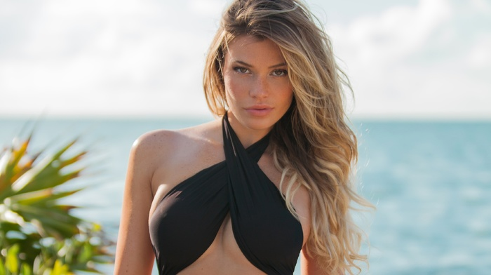 Samantha Hoopes, girl, looking at viewer, girl outdoors, swimwear, blonde, model