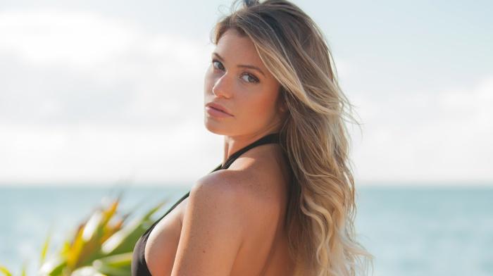 blonde, girl, model, looking at viewer, girl outdoors, swimwear, Samantha Hoopes