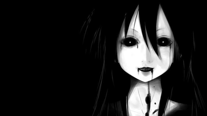 dark, anime girls, anime, black background, face