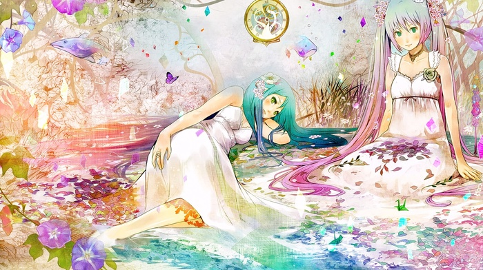 sitting, looking at viewer, flowers, butterfly, aqua hair, green eyes, pink hair, twintails, anime girls, long hair, smiling, anime