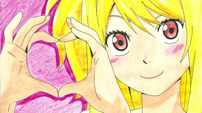 pink background, heart, Fairy Tail, blonde, anime girls, Heartfilia Lucy, smiling, anime, long hair, looking at viewer