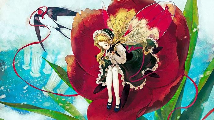 sitting, blonde, original characters, anime girls, long hair, wings, anime, closed eyes, flowers