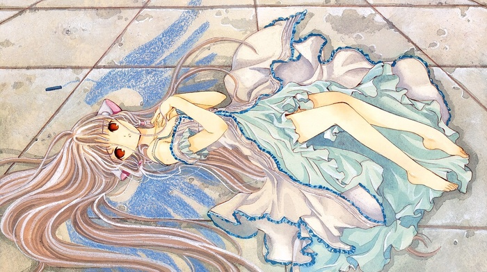 red eyes, anime girls, blonde, Chobits, long hair, looking at viewer, anime, Chii
