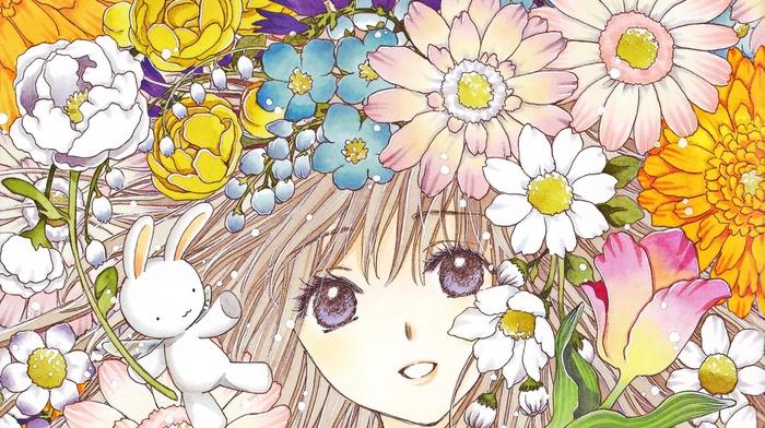 blonde, long hair, smiling, anime girls, blue eyes, flowers, looking at viewer, anime