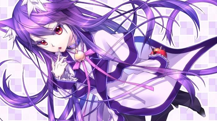 long hair, apples, violet hair, fruit, red eyes, animal ears, anime, anime girls, original characters