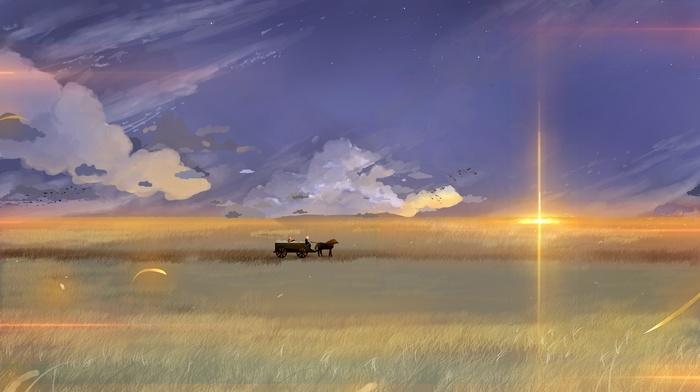 Spice and Wolf, artwork, landscape, fantasy art, anime