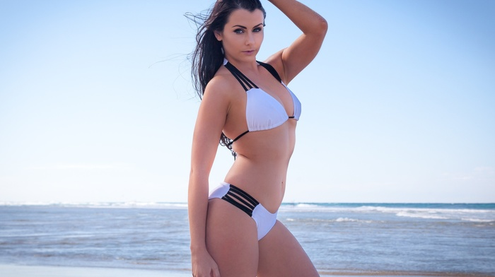 girl, hands on head, model, sea, white bikini, sky, portrait