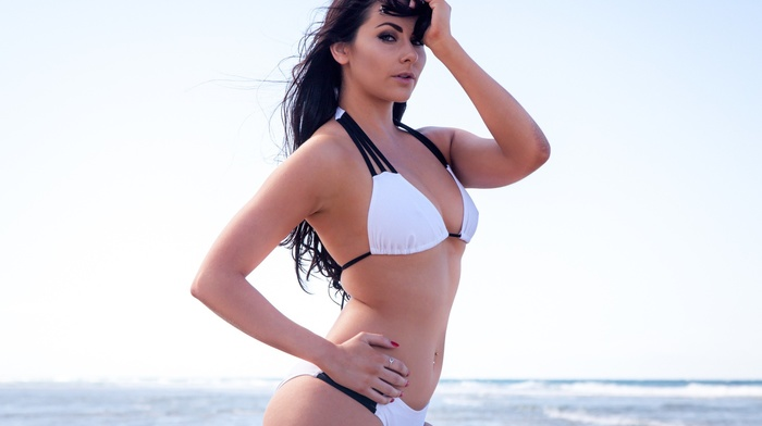 model, sea, portrait, sky, white bikini, girl, hands on head, ass
