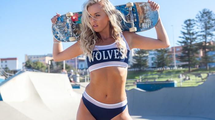 sports bra, girl, model, skateboarding, blonde, Hugos