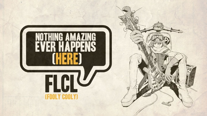 artwork, anime, guitar, flcl, quote