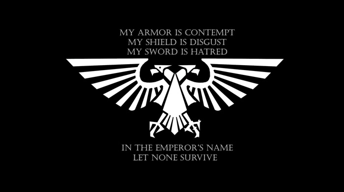 artwork, black background, text, Imperial Aquila, simple background, warhammer 40, 000