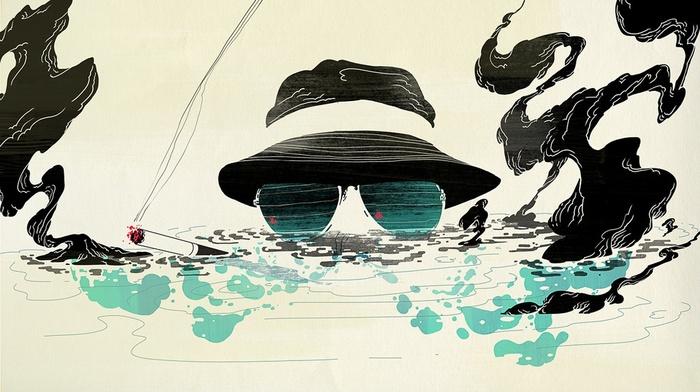 Hunter S. Thompson, artwork, smoking