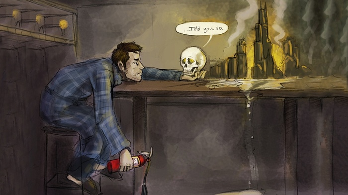 fantasy art, books, artwork, skull, Dresden Files