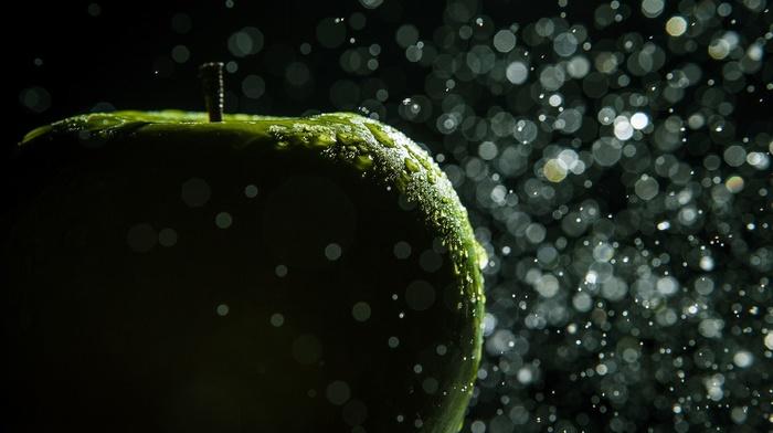 water, bokeh, macro, apples