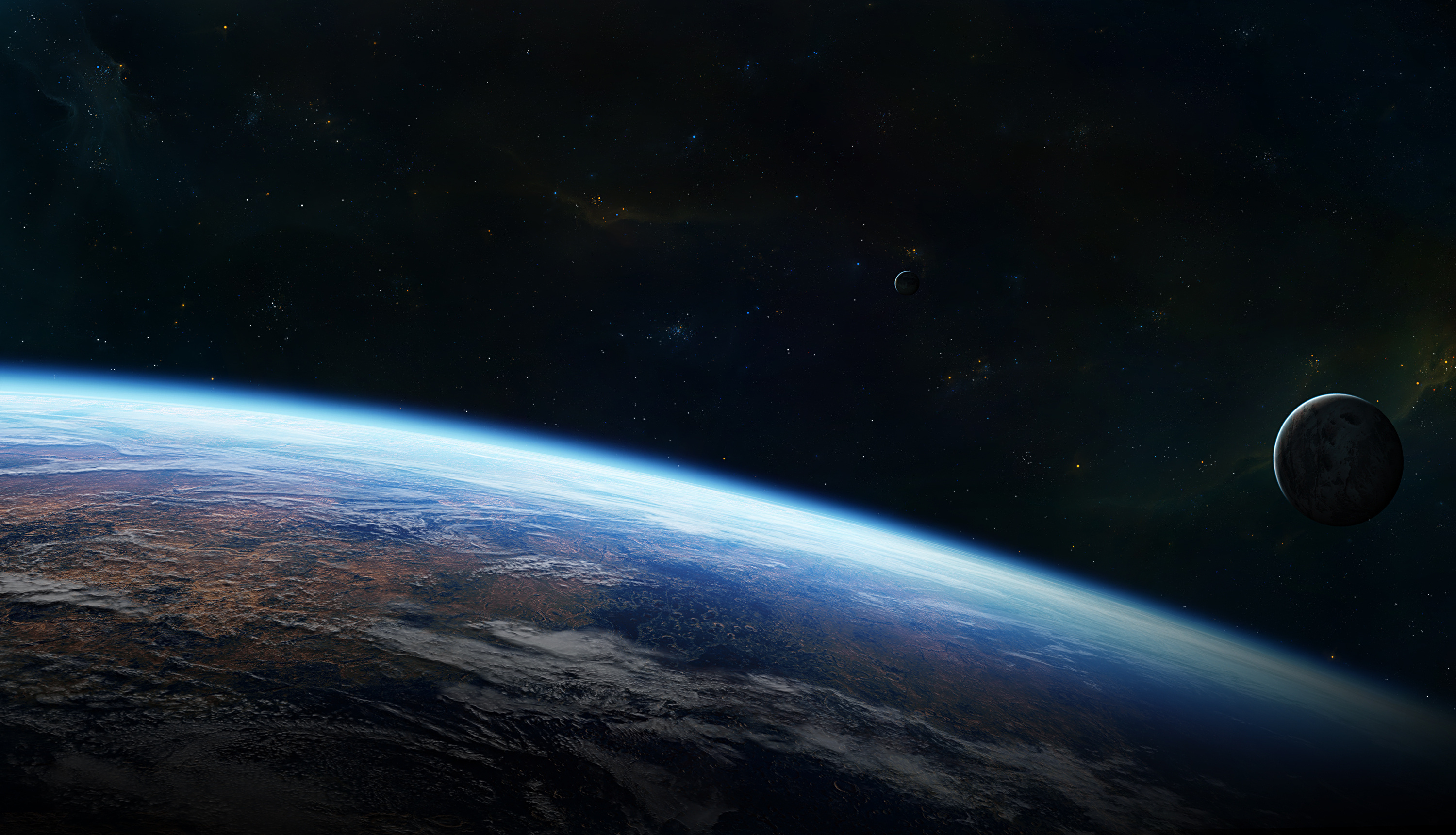 Space Stars Planet Atmosphere Surface Download Wallpaper