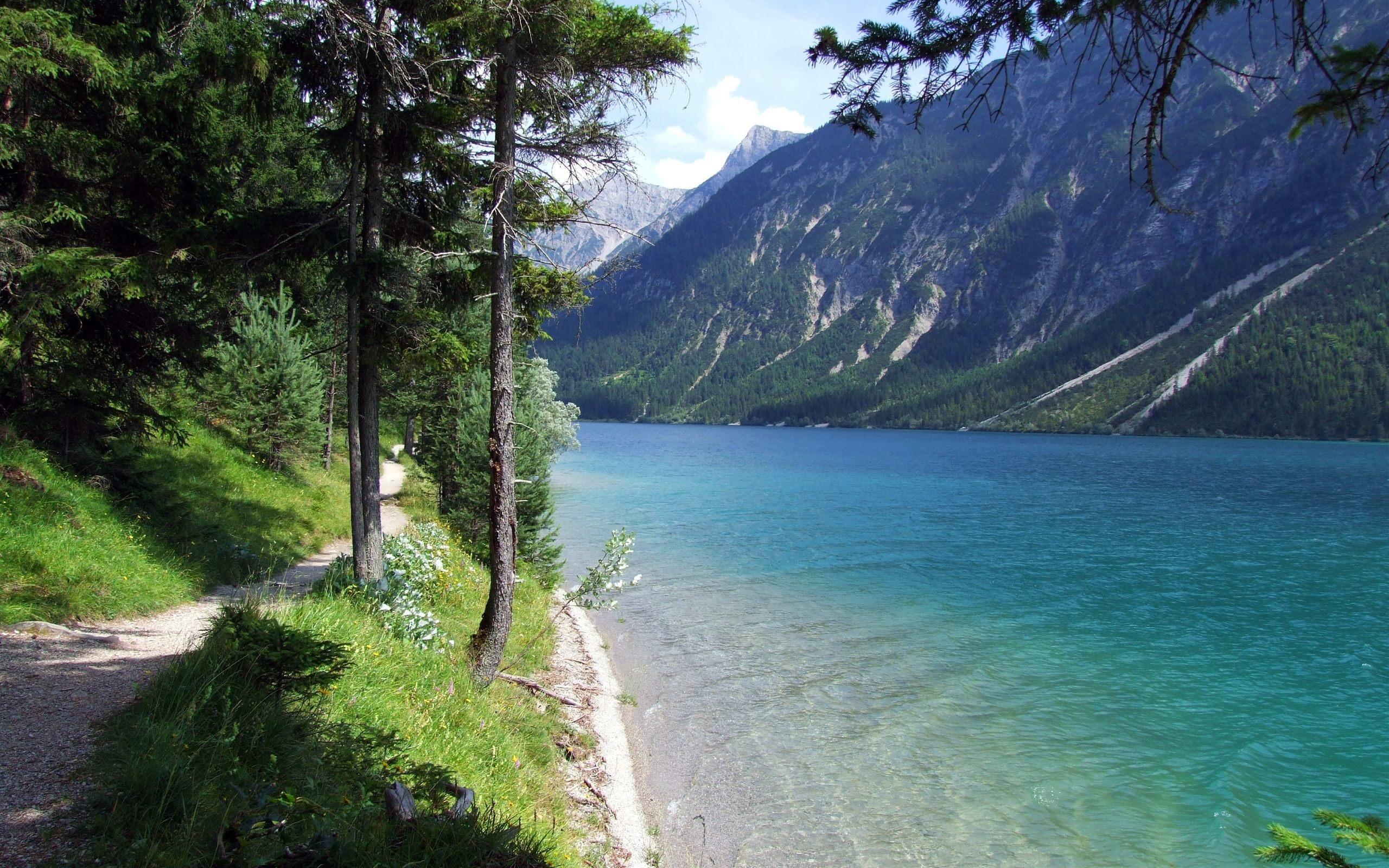 природа, вода, озеро, деревья, тропа, гора