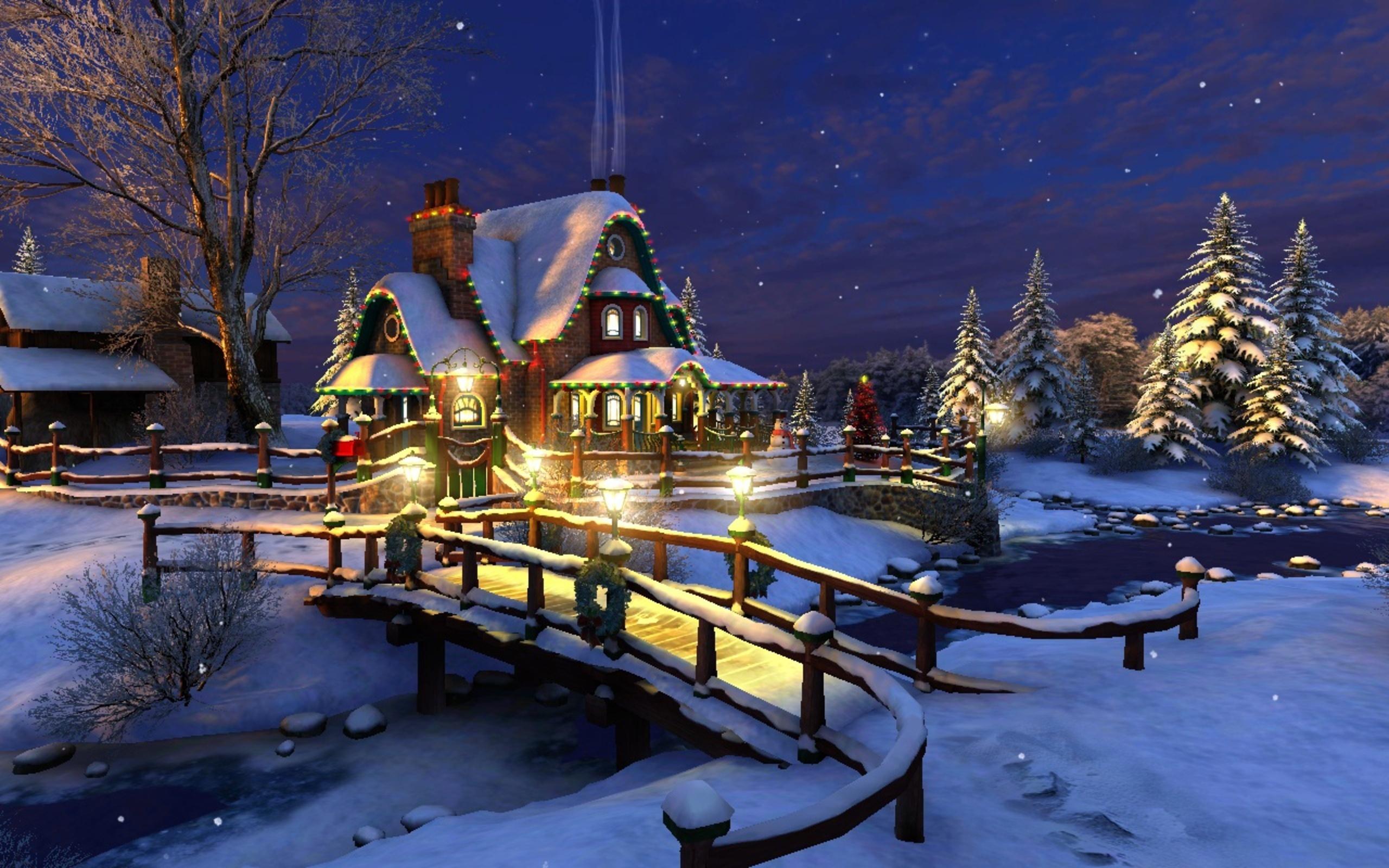 night snow lodge winter wallpaper 90696 2560x1600px. Black Bedroom Furniture Sets. Home Design Ideas
