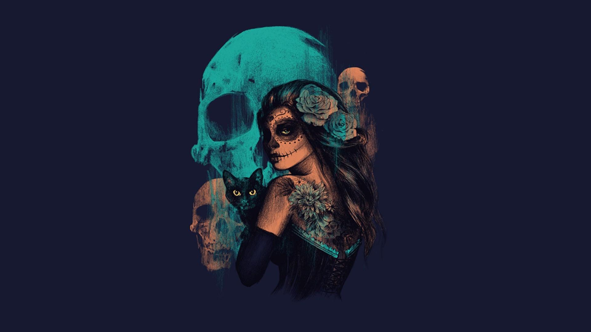 Sugar skull girl fantasy art artwork skull wallpaper 95341 download wallpaper voltagebd Images