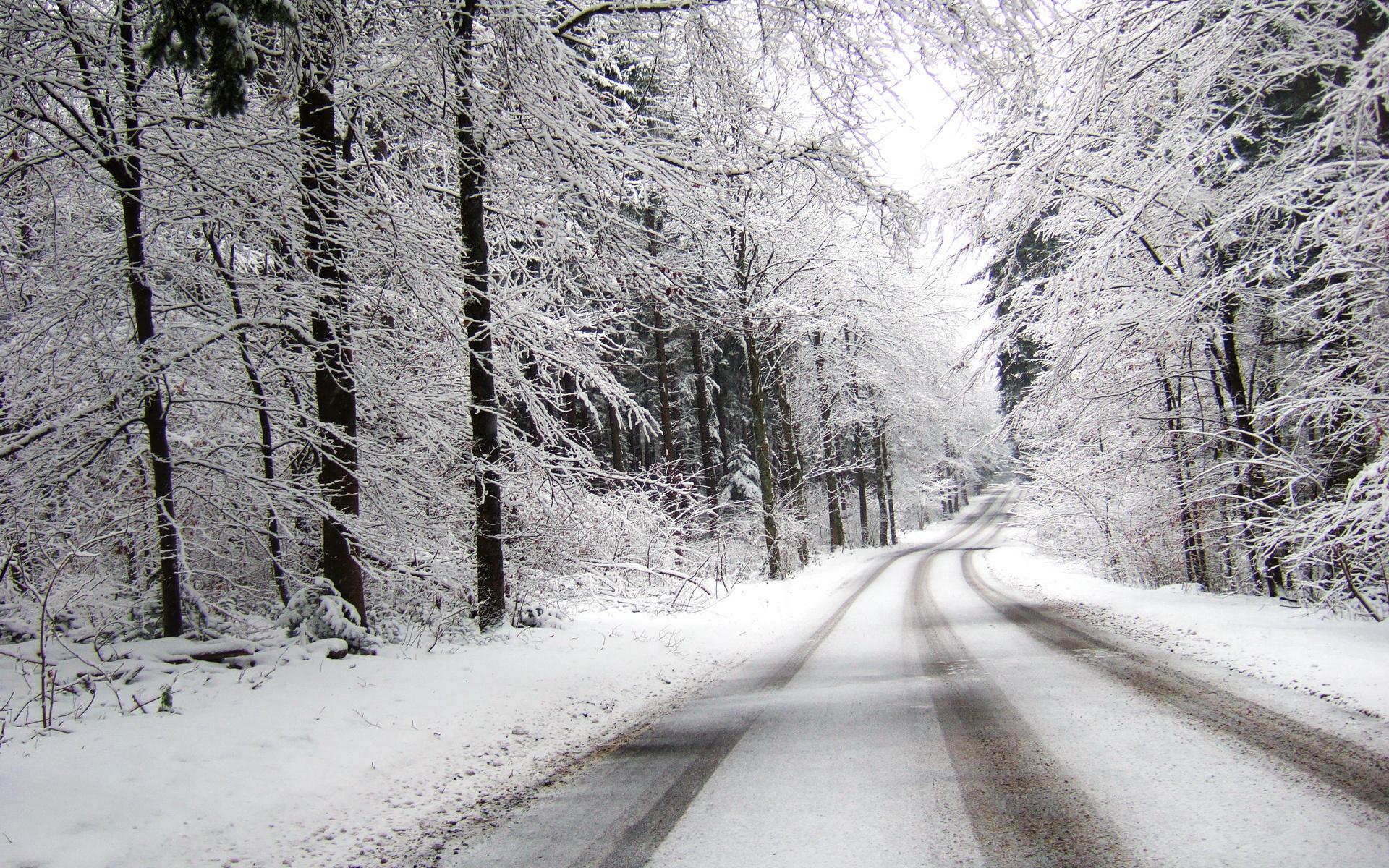 Дорога в снегу, дорога, снег, зима