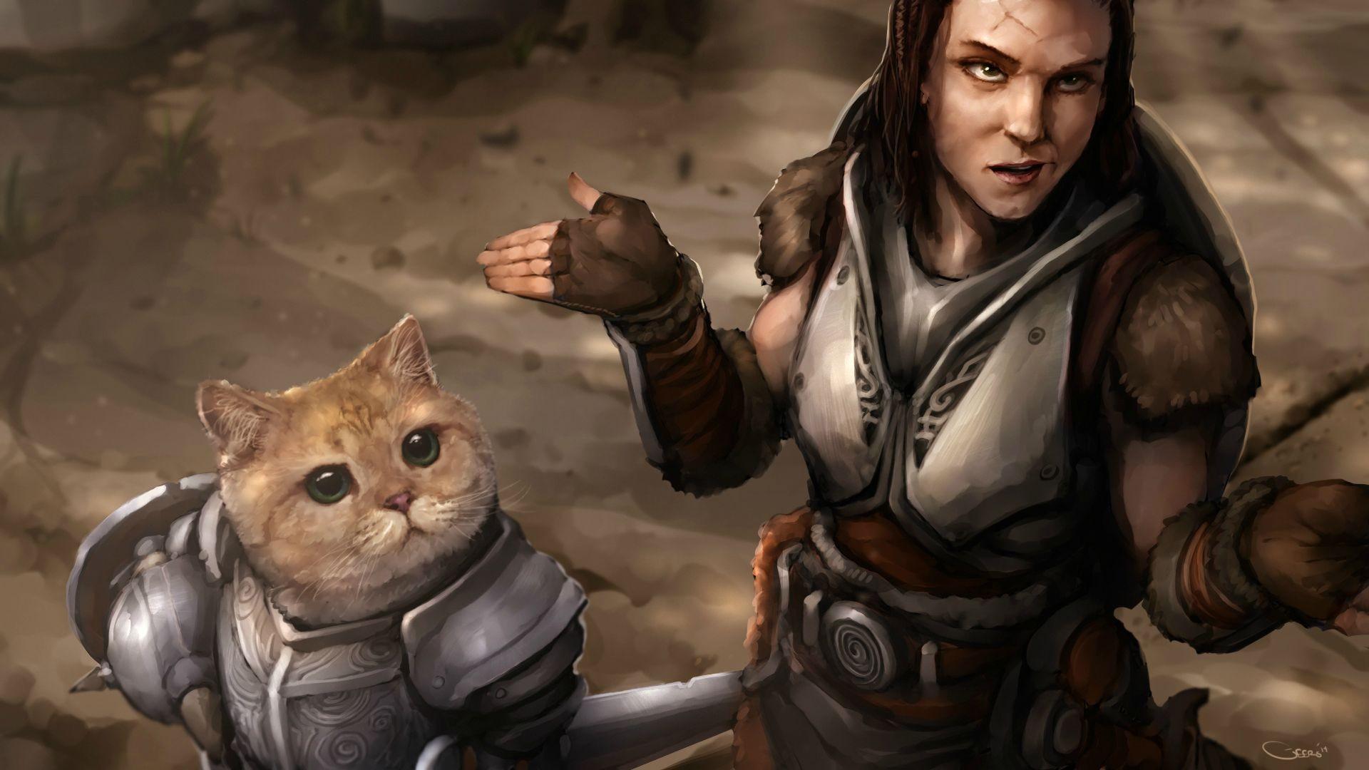 the elder scrolls v skyrim, игры, кот