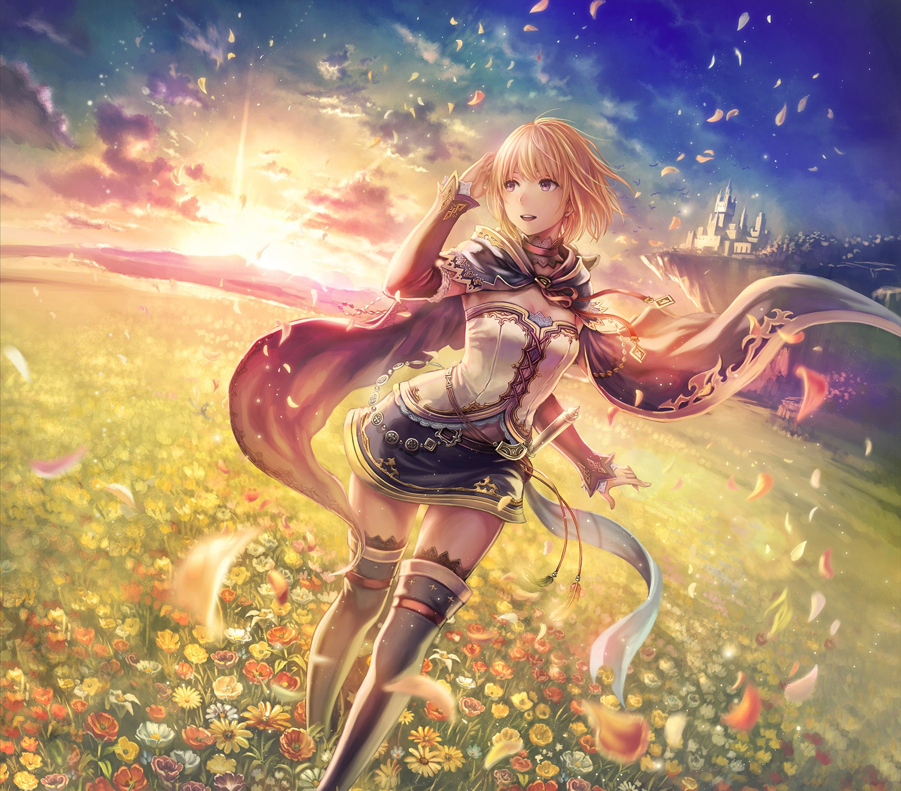 sunset, leaves, anime girls, flowers, castle, original characters