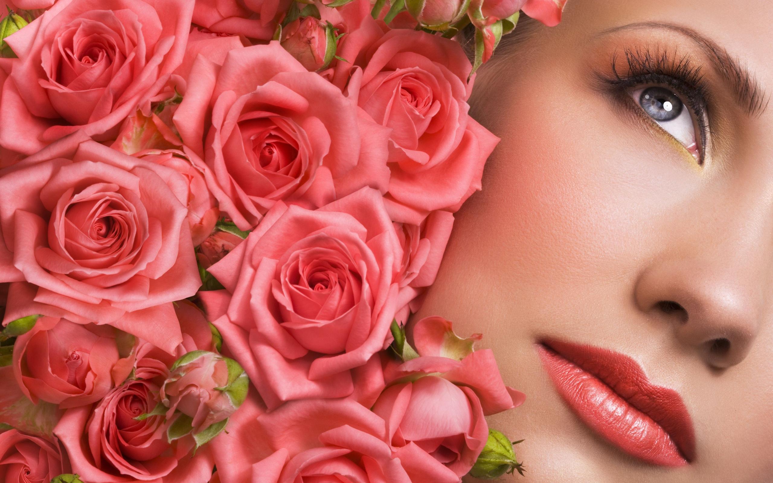 Красивые открытки женщин с цветами