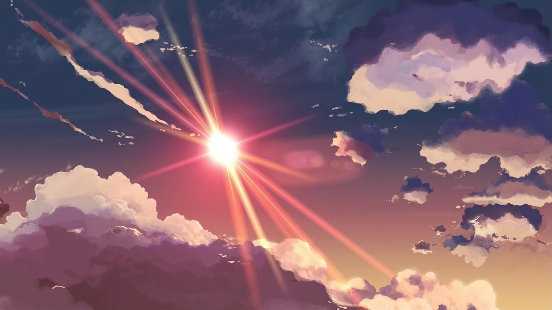 Clouds Sun Sky Rays Makoto Shinkai Artwork