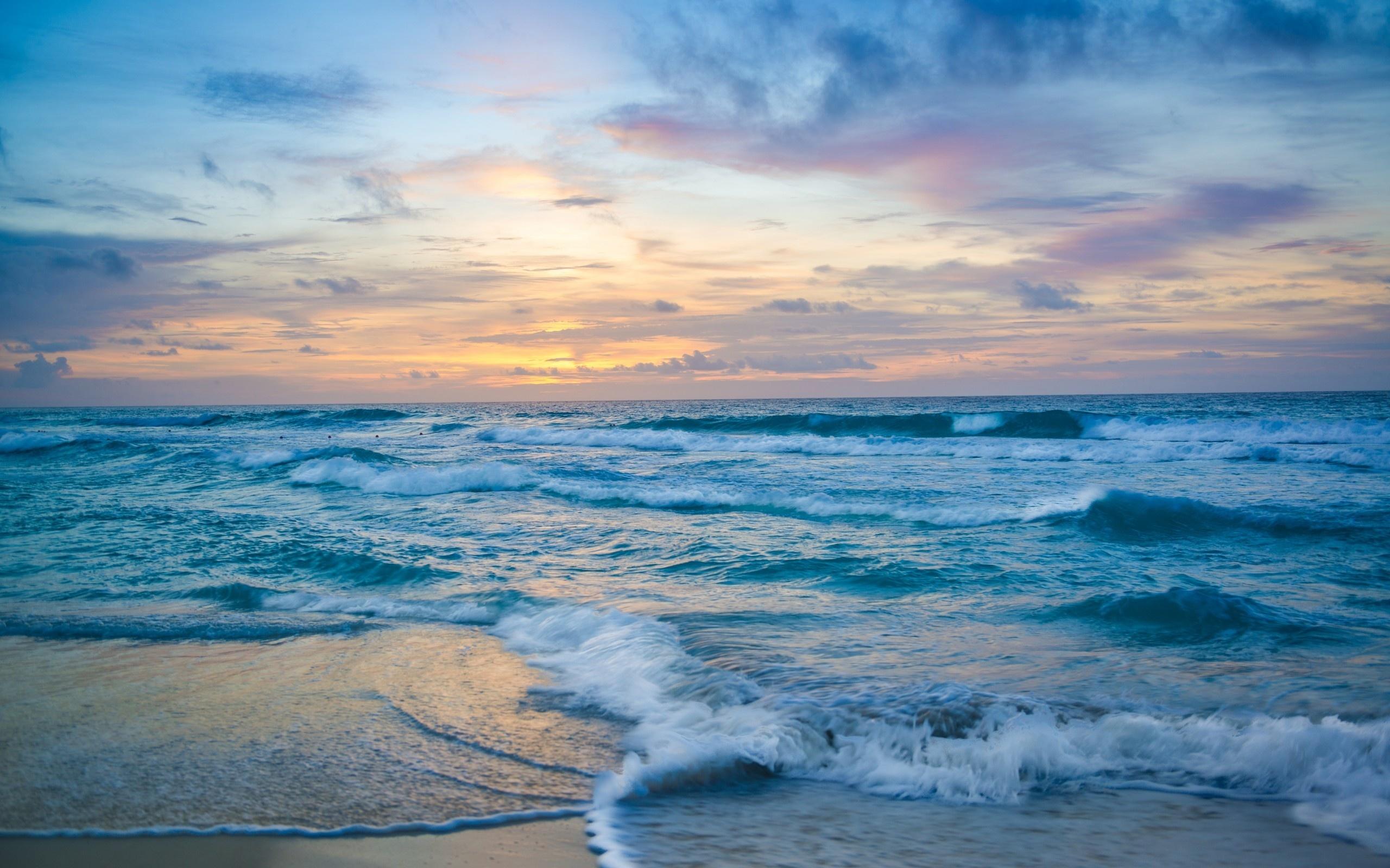 пена, природа, вечер, море, прибой, закат