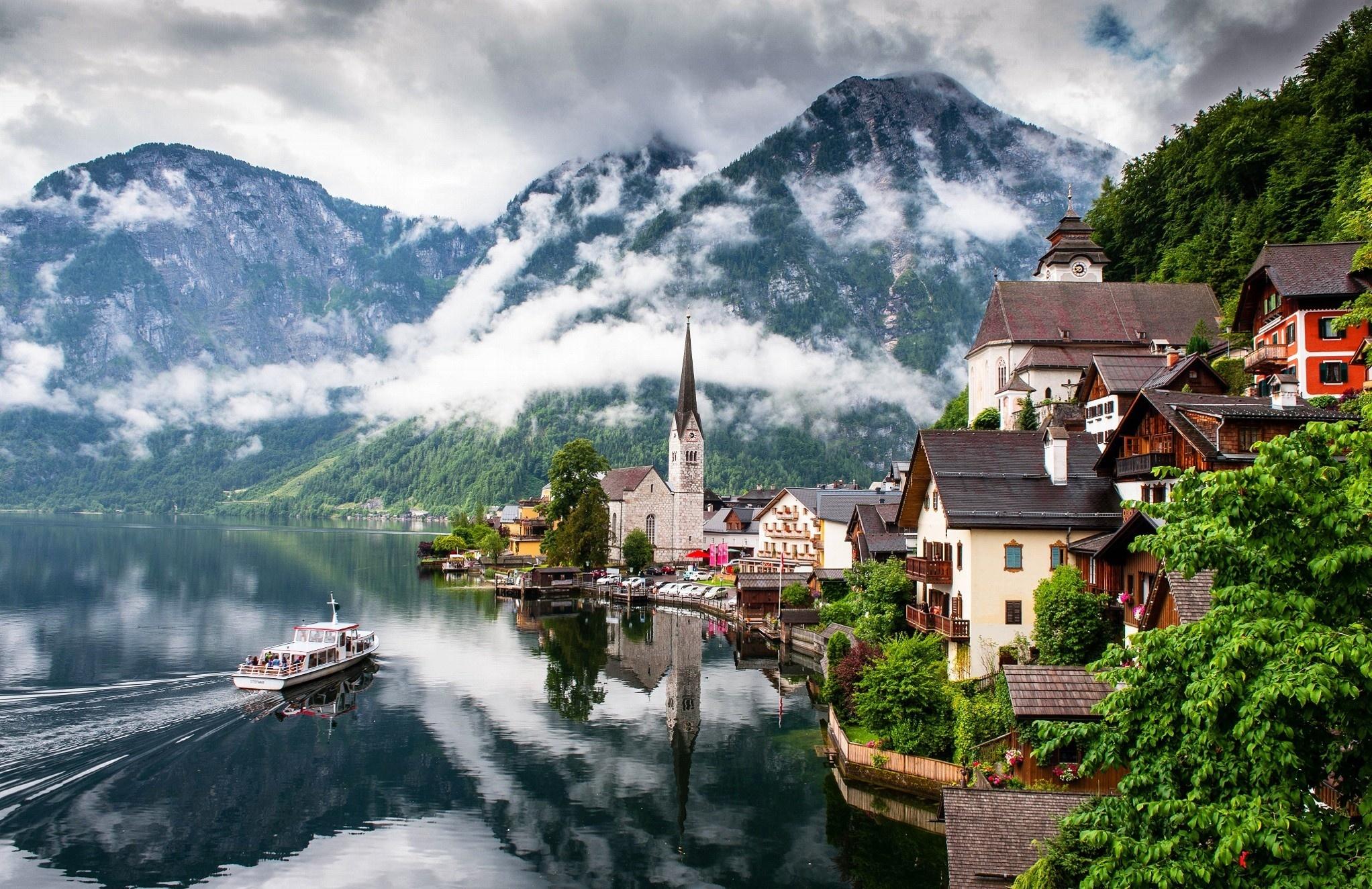 города, туман, Австрия, вода, природа, горы