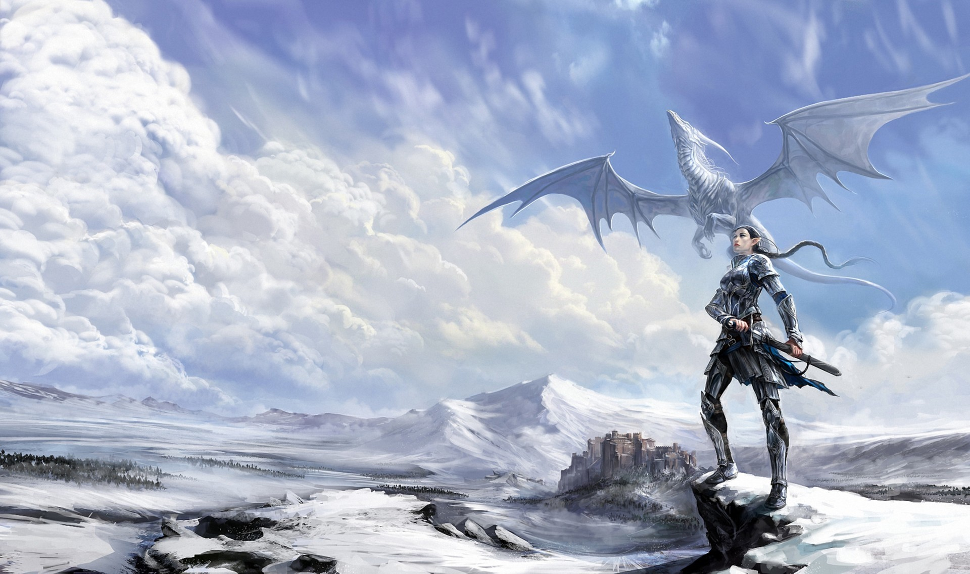 girl, elves, dragon, sword, snow, fantasy art - wallpaper #119771