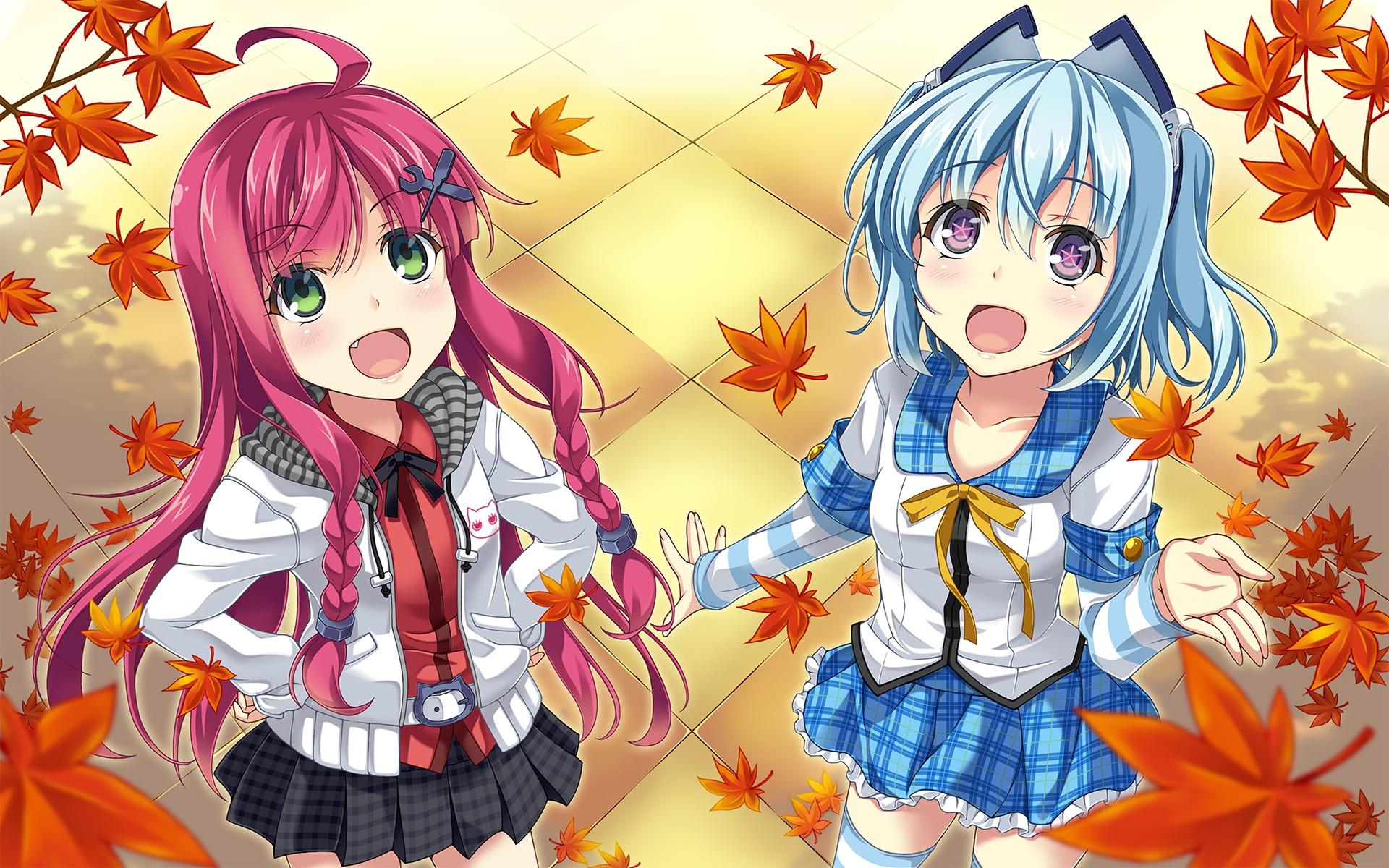 синие волосы, оригинальные персонажи, школьная форма, рыжие, девушки из аниме