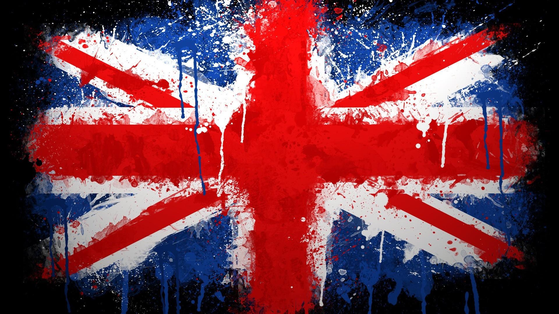 Великобритания, флаг, брызги краска