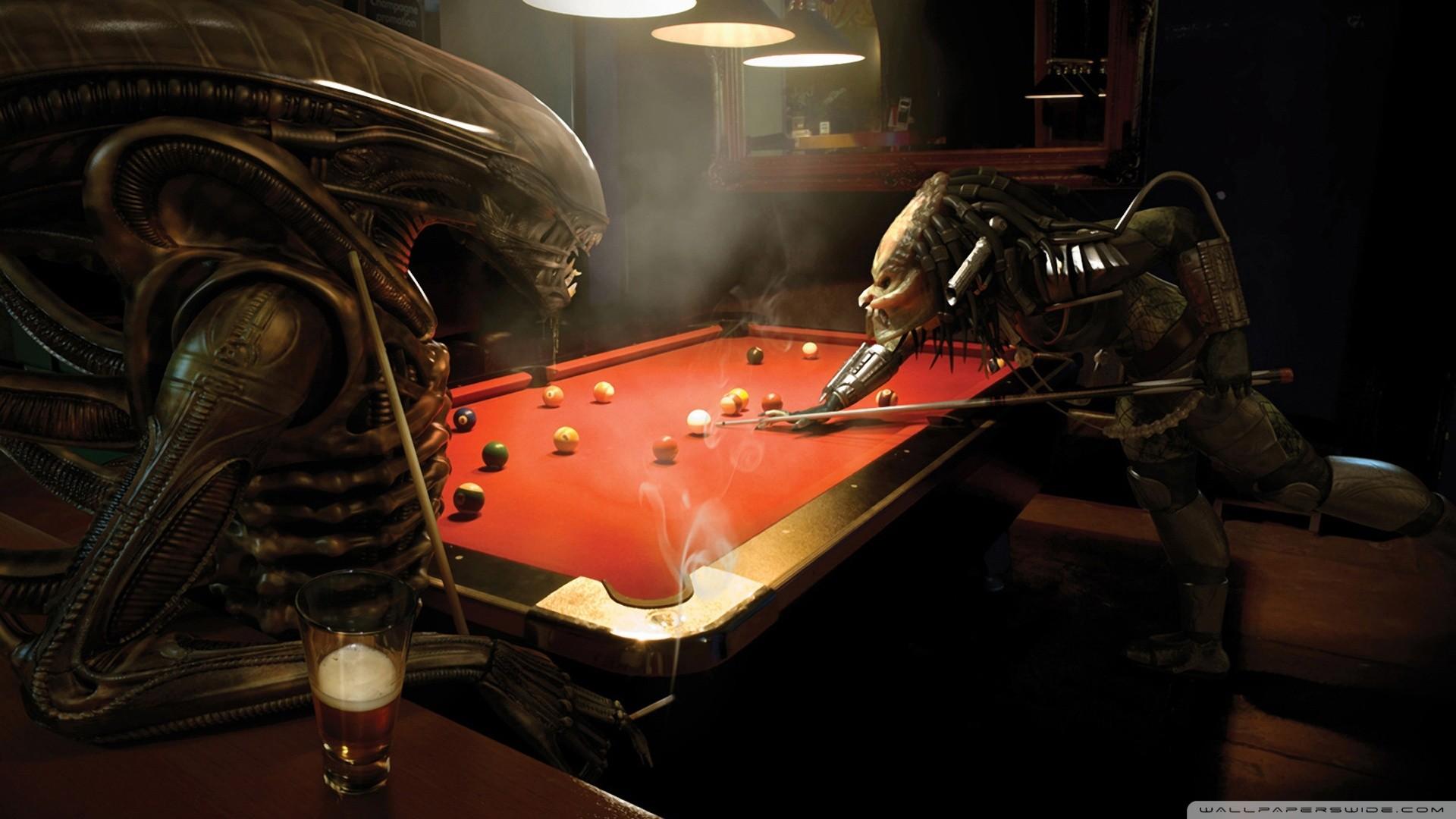 Billiards Aliens Bar Anime Alien Vs Predator Pool Table