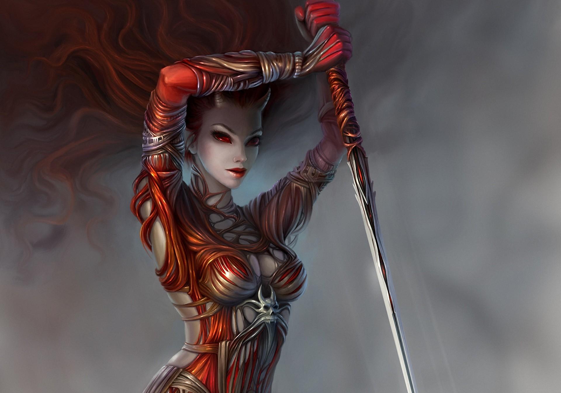 красные галаза, демон, фантастическое исскуство