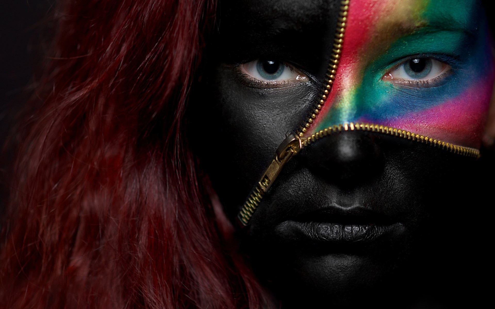 красочно, рыжие, голубые глаза, девушка