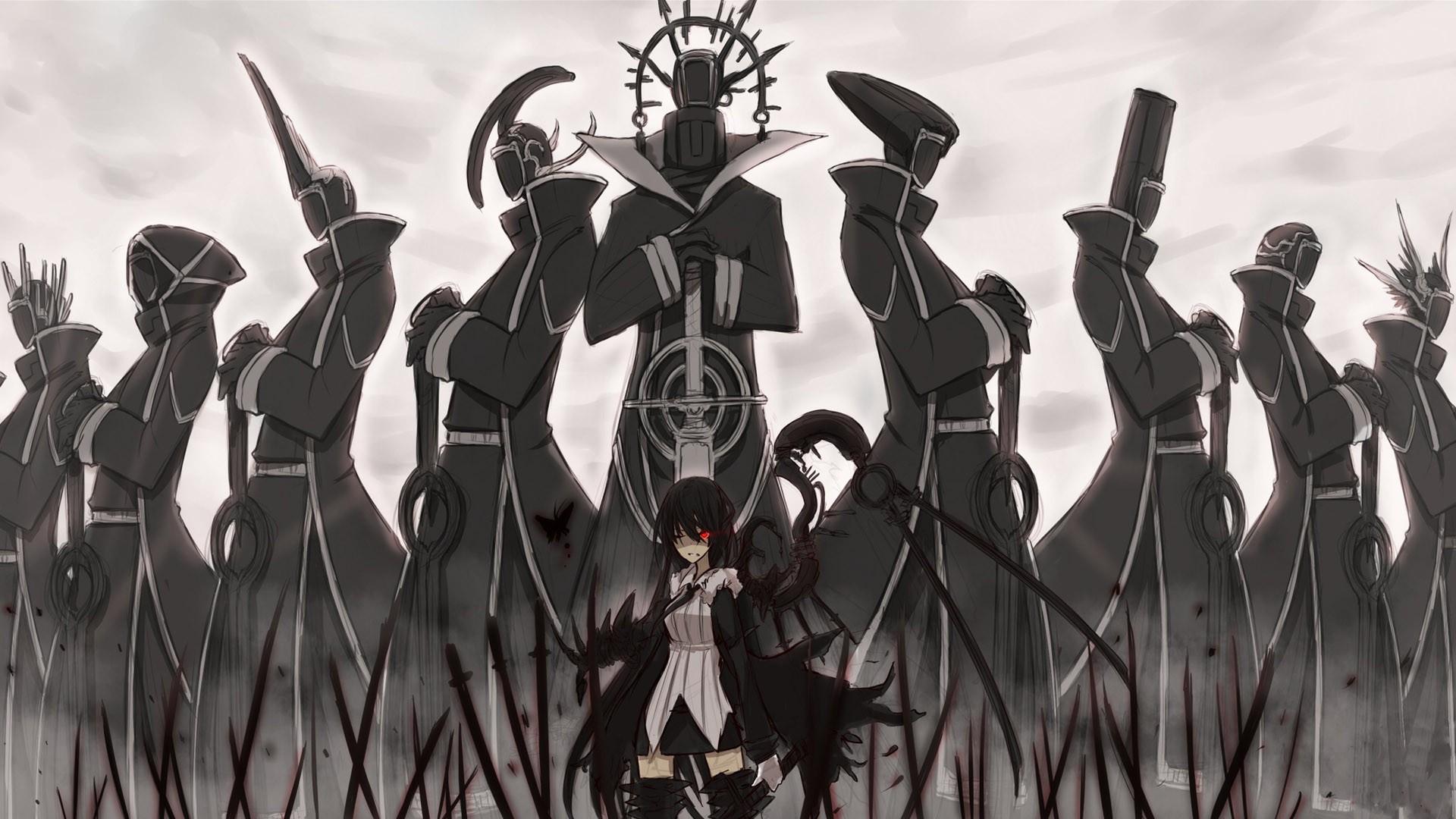 девушки из аниме, аниме, красные галаза