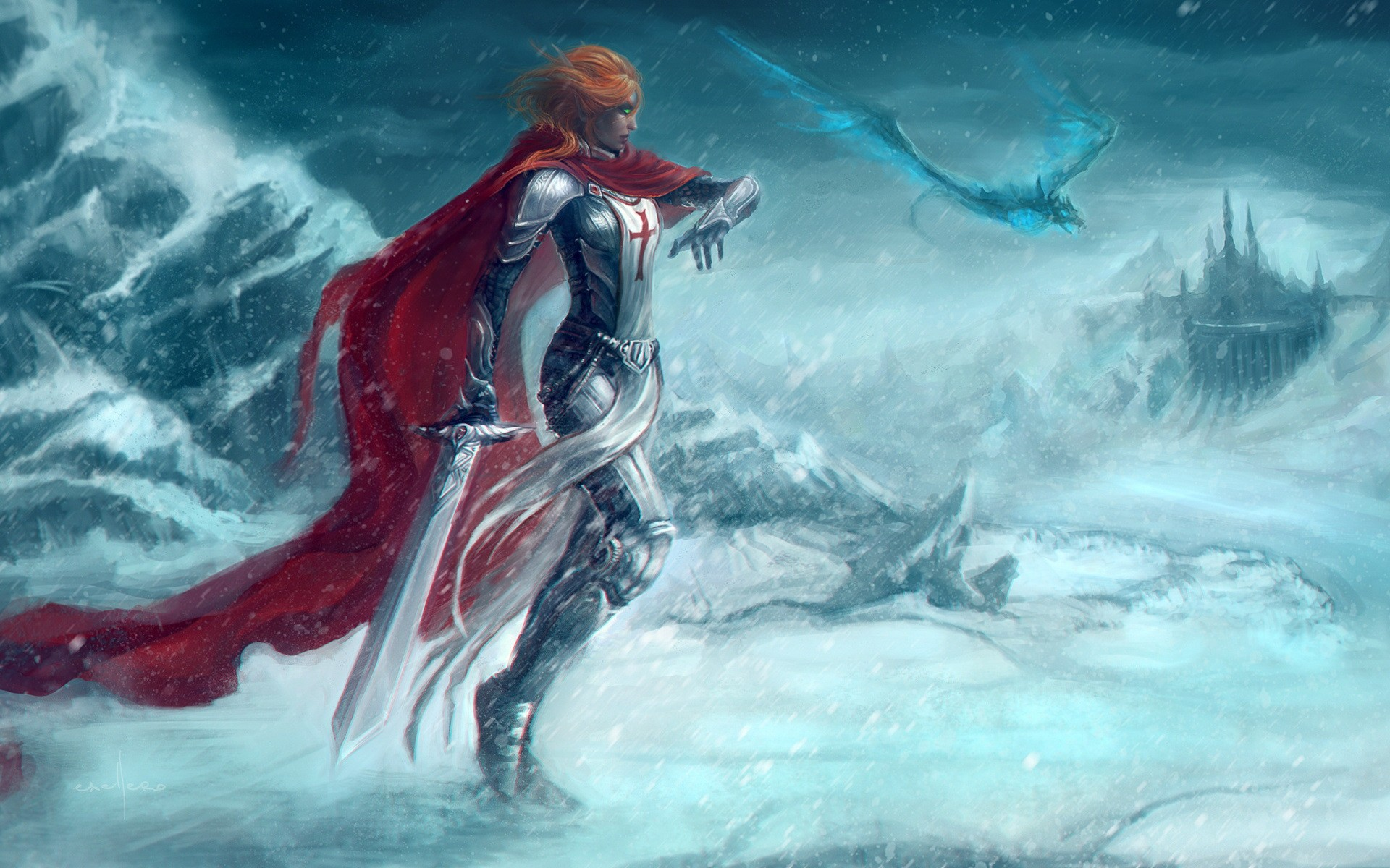 дракон, World of Warcraft, зима, меч, фантастическое исскуство