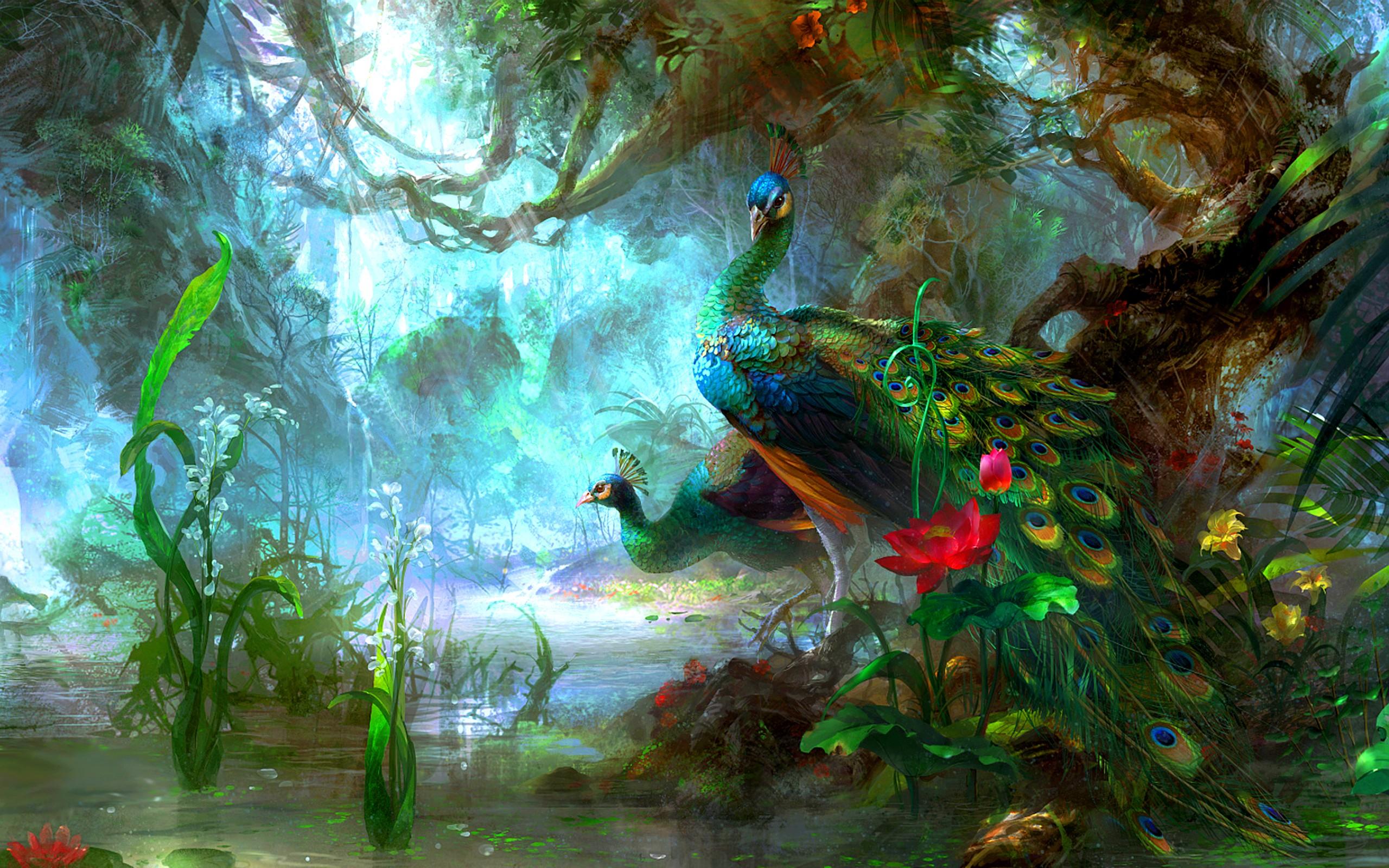 фантастическое исскуство, птицы, лес