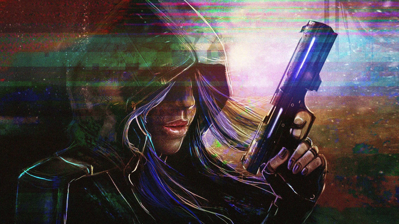 аниме, девушки из аниме, пистолет