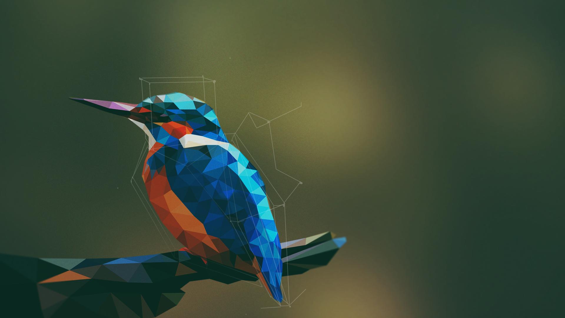 Simple Background Artwork Digital Art Birds Geometry Kingfisher