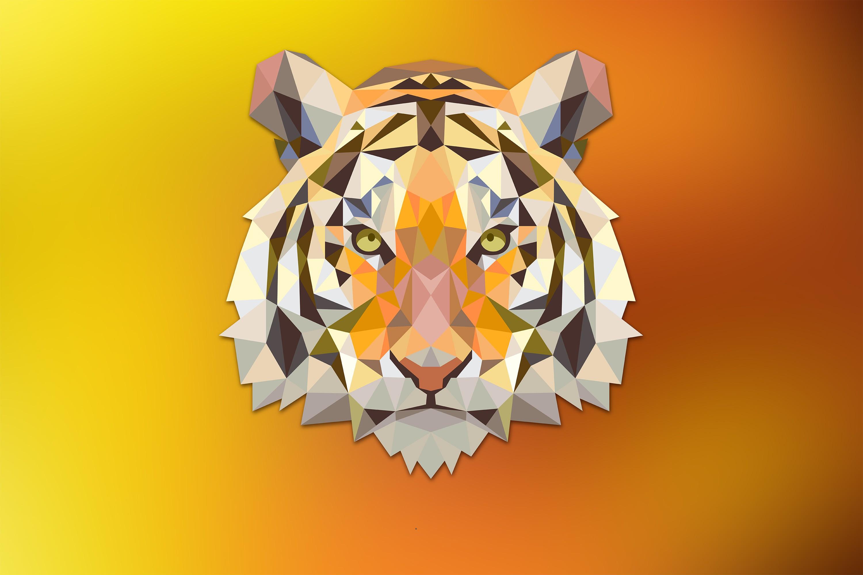 tiger, digital art, orange, animals, low poly, triangle - wallpaper ...