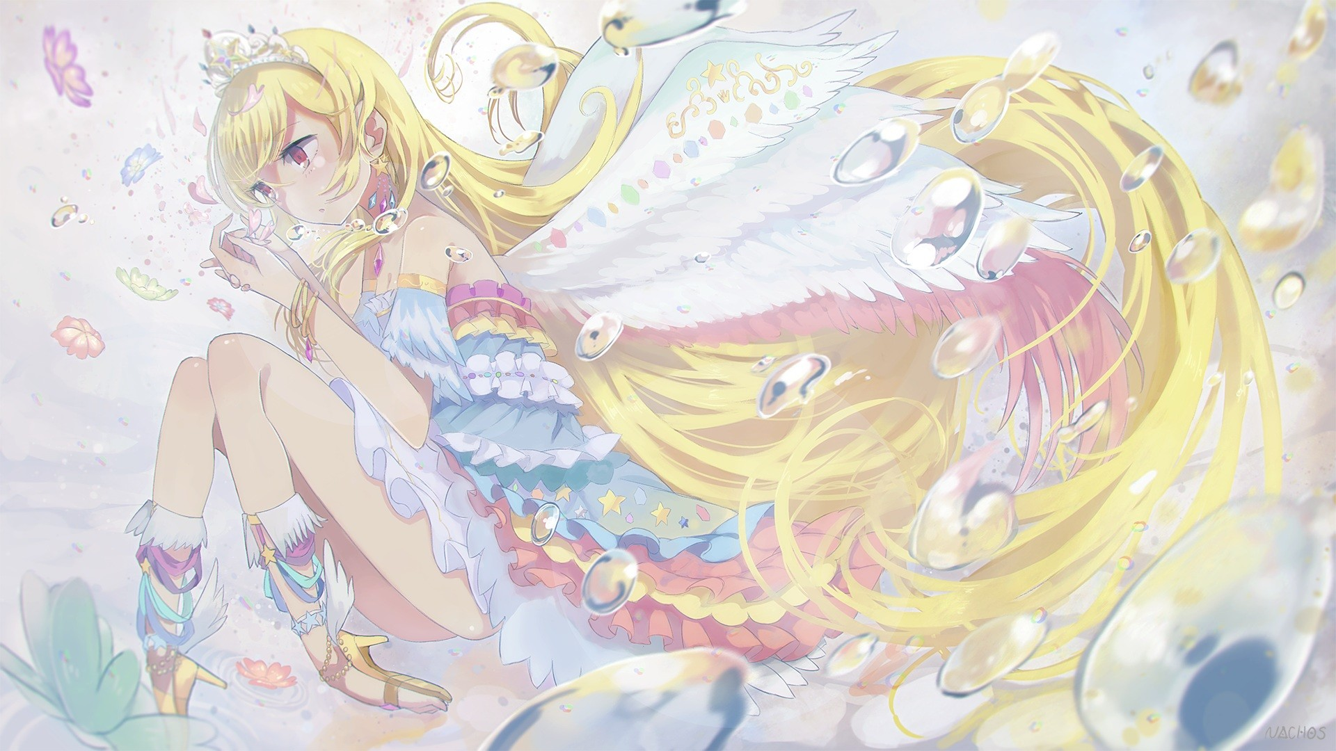anime girls, anime, aikatsu, princesses, wings, hoshimiya ichigo