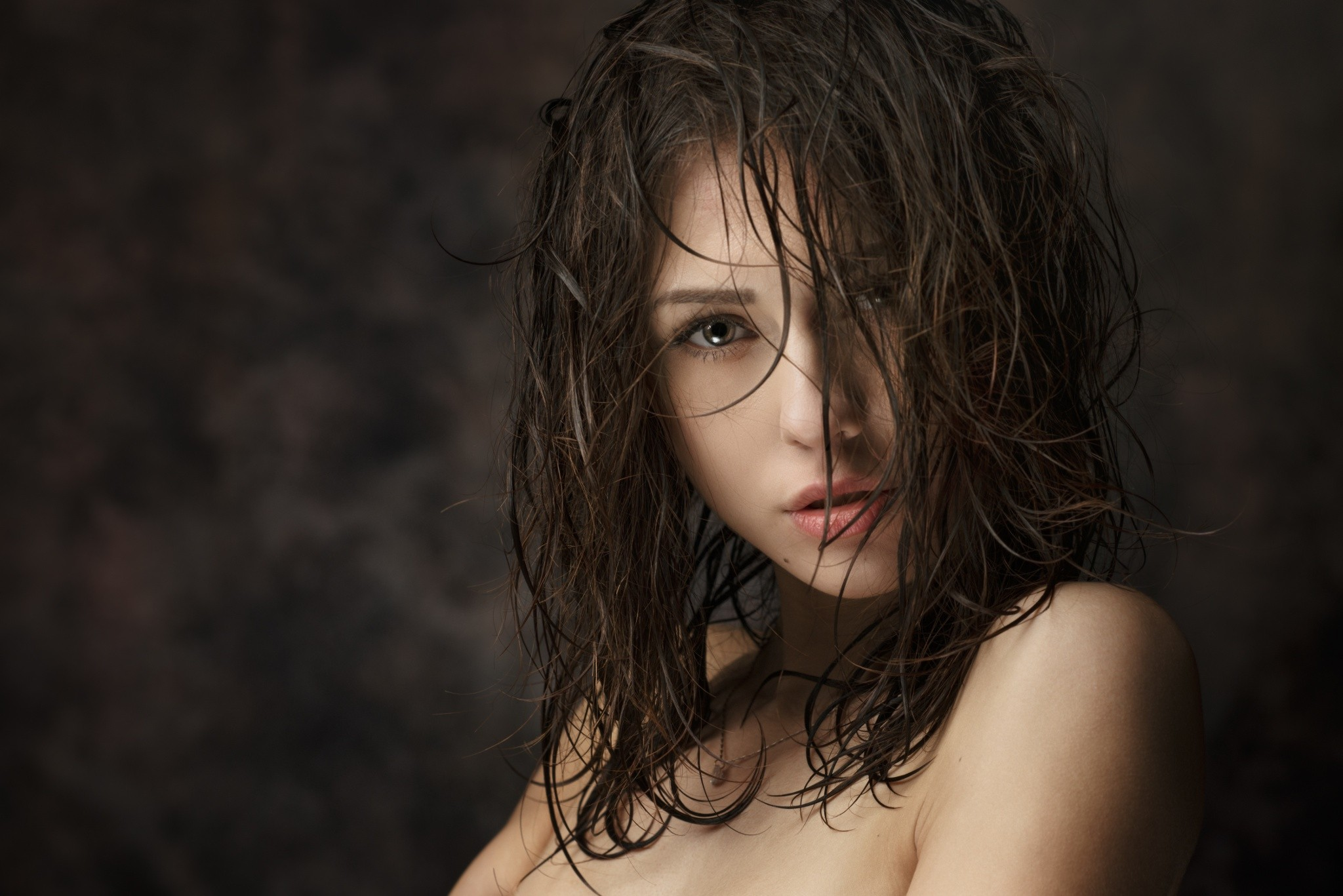 catherine timokhina, wet hair, open mouth, brunette, depth of field