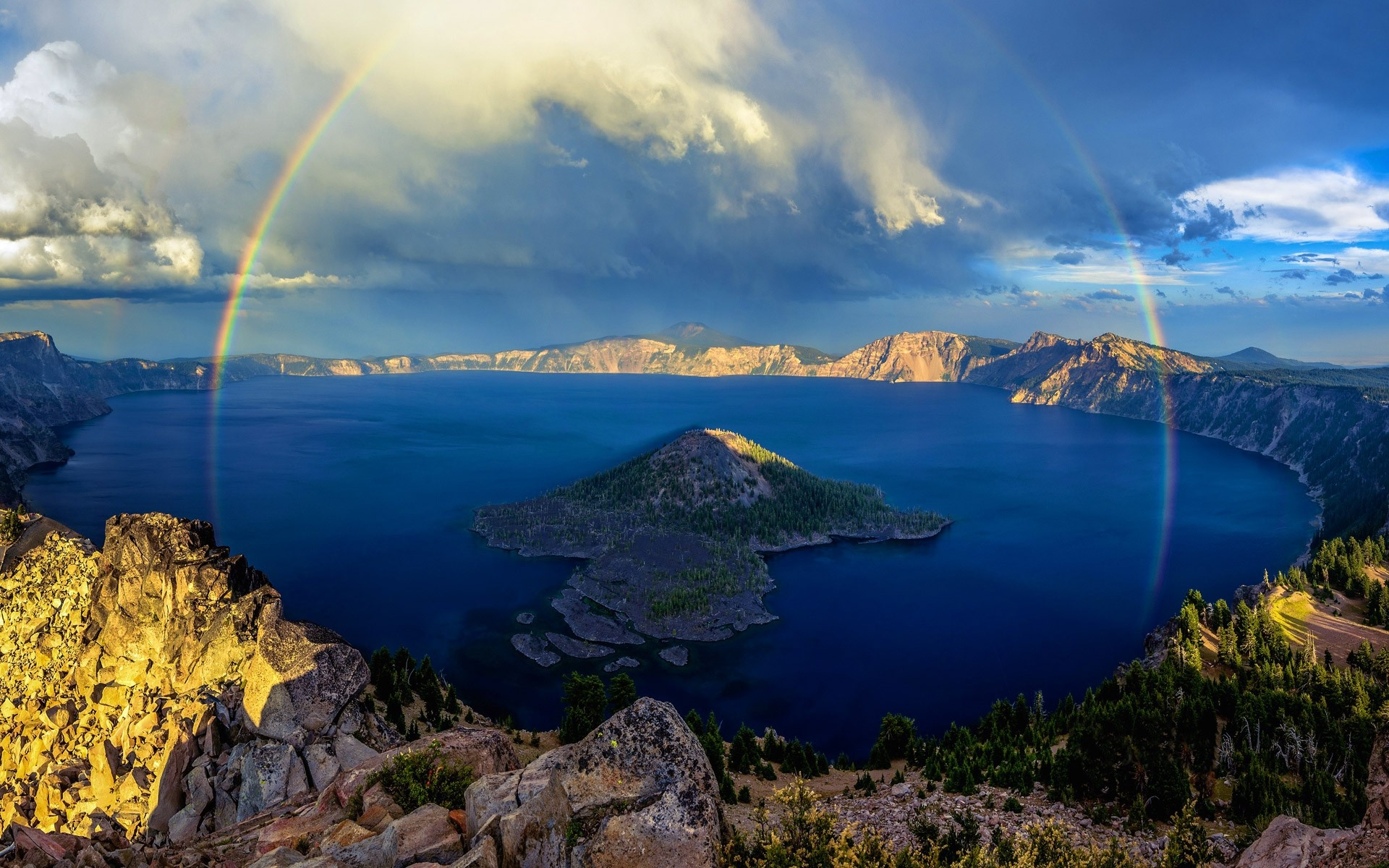 island, blue, landscape, forest, mountain, crater lake - wallpaper