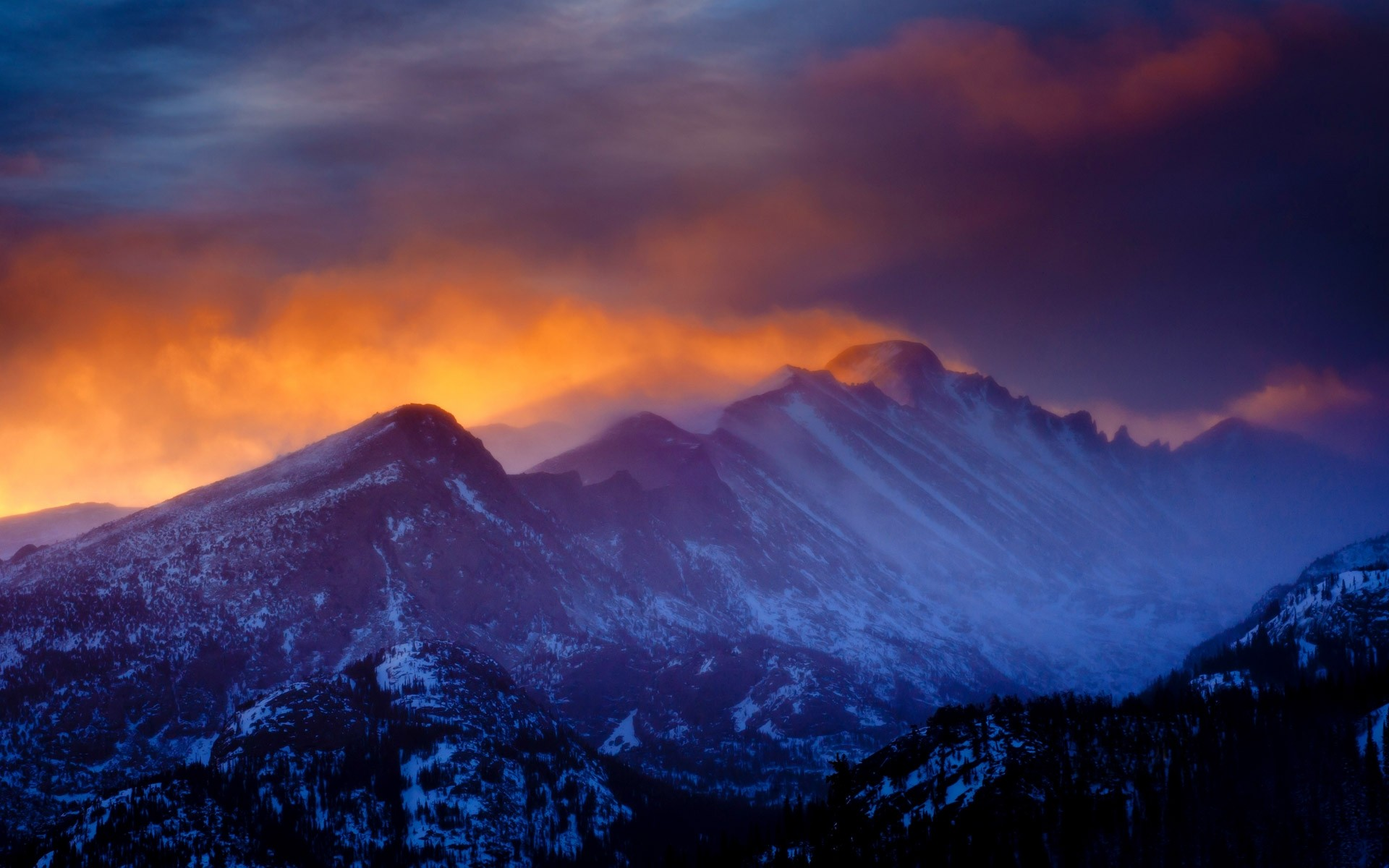 Clouds Winter Mist Sunset Rocky Mountain National Park Forest