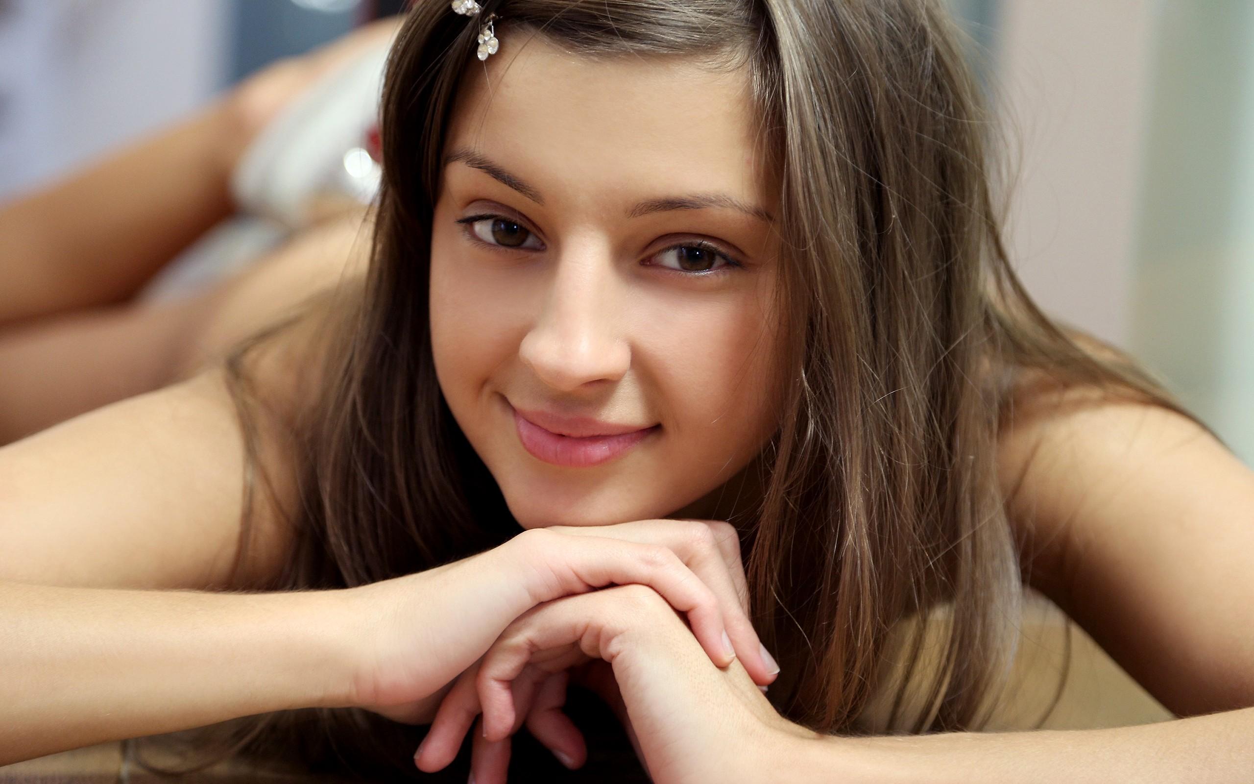 face, Maria Ryabushkina, looking at viewer, girl, brunette