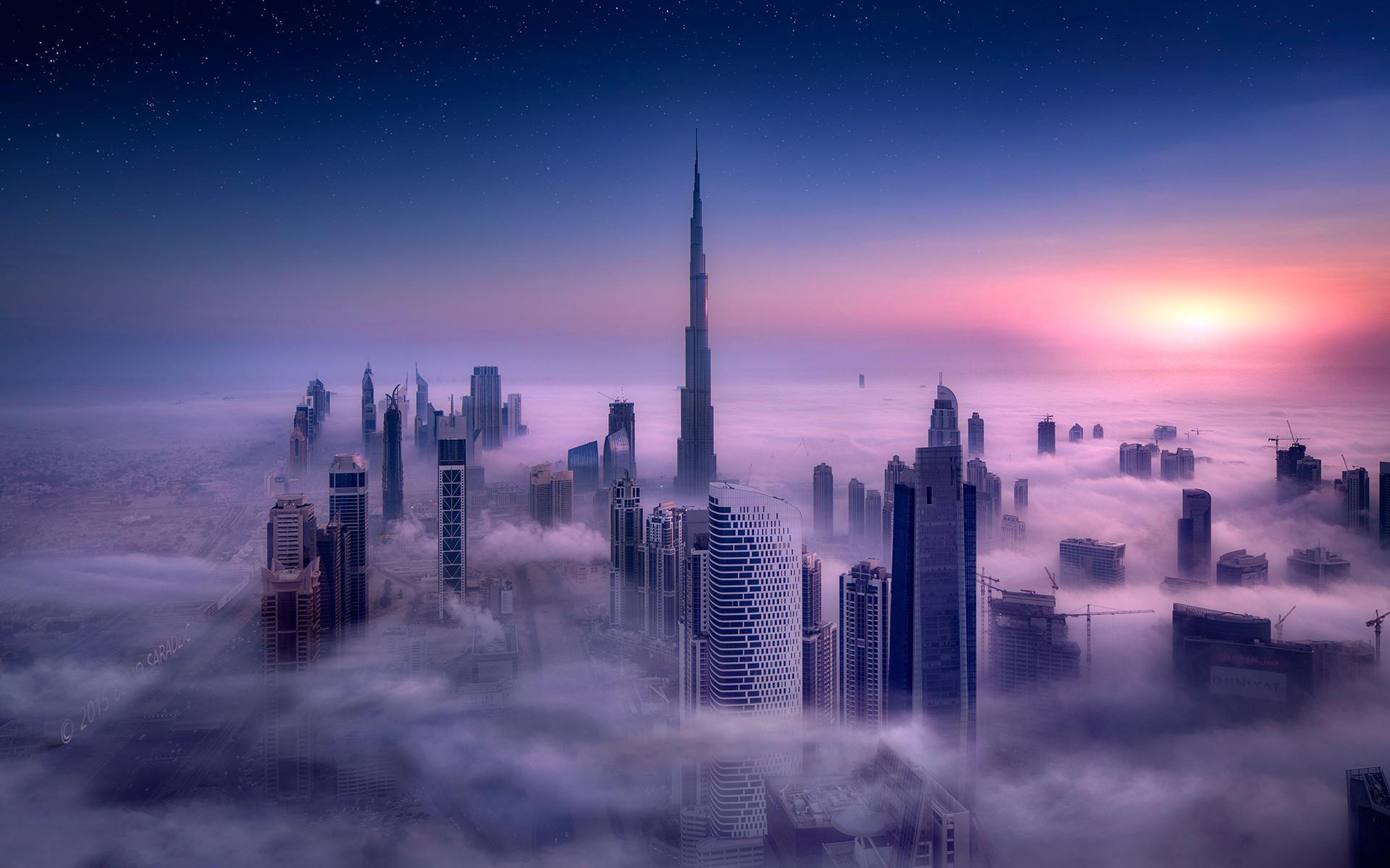 Sky City Clouds Skyscraper Cityscape Long Exposure