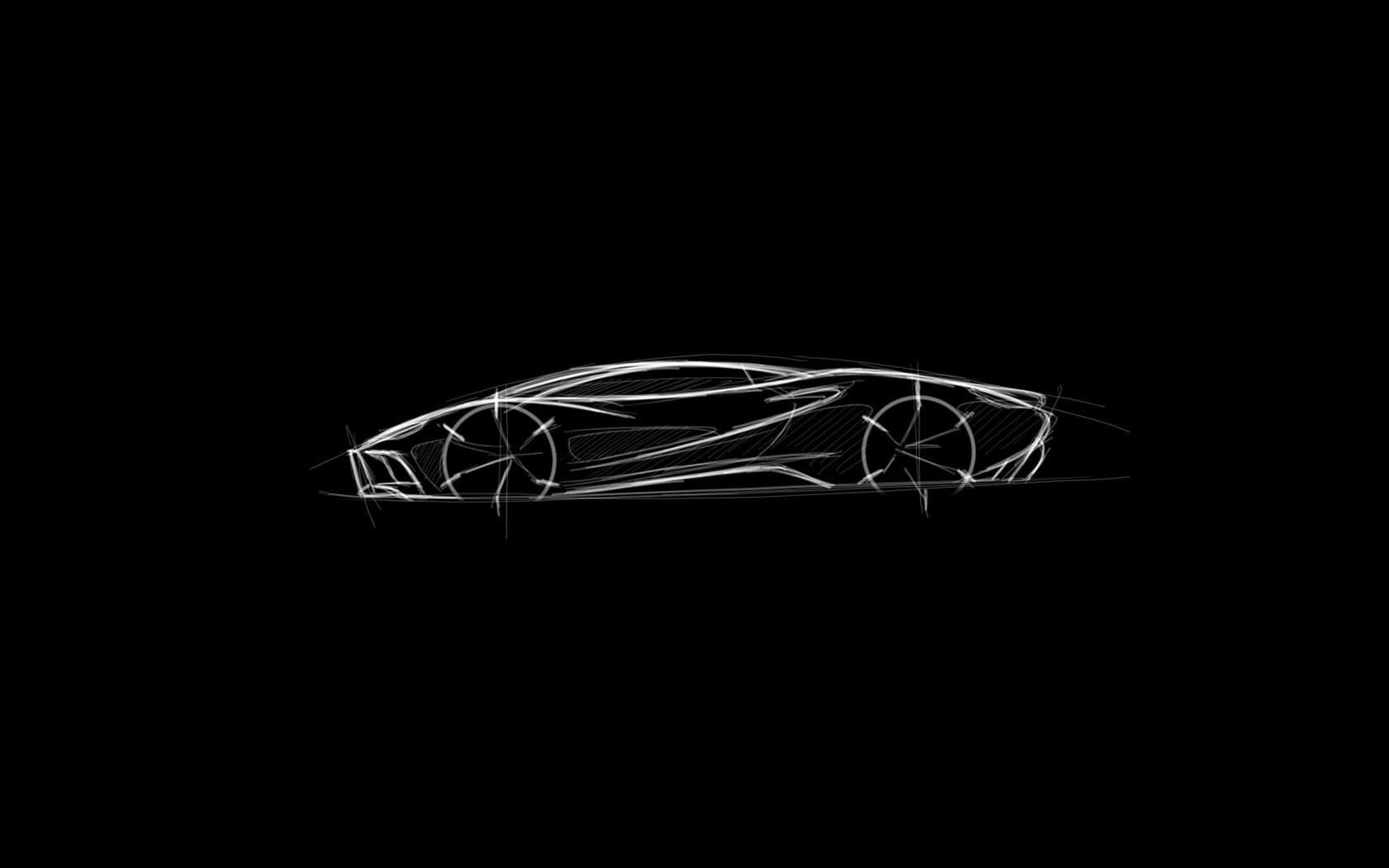 sketches, sports car, modern, monochrome, black background, drawing ...